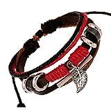 TEMEGO Jewelry Mens Womens Genuine Leather Wrap Bracelet, Vintage Beads Leaf Charm Cuff Bracelet, Adjustable Fits 7-12 inch, Black Red Brown Silver