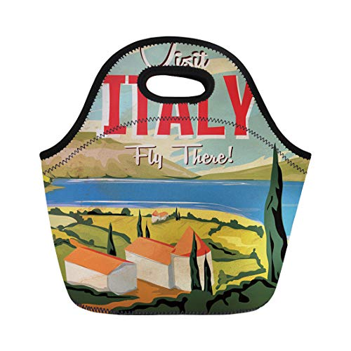 Semtomn Lunch Tote Bag Italian Visit Italy Vintage Travel Landscape Building Cartoon Vacation Reusable Neoprene Insulated Thermal Outdoor Picnic Lunchbox for Men Women (Best Italian Lake To Visit)