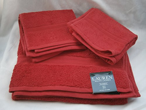 3 pc Ralph Lauren CLASSIC Red Towel Set; 1 Bath Towel & 2 Hand Towels