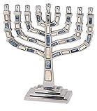 Hanukkah Menorah for Candles Blue Stones & Aluminum for Chanukah Party Candles 9 3/4'' x 9 1/4''