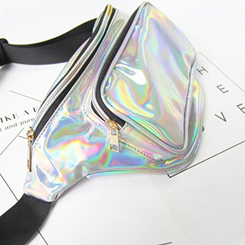 silver Pack Waist PVC AiSi Women's Hologram Purse Raves Bag B Bum Fanny Festivals q7XIawRI