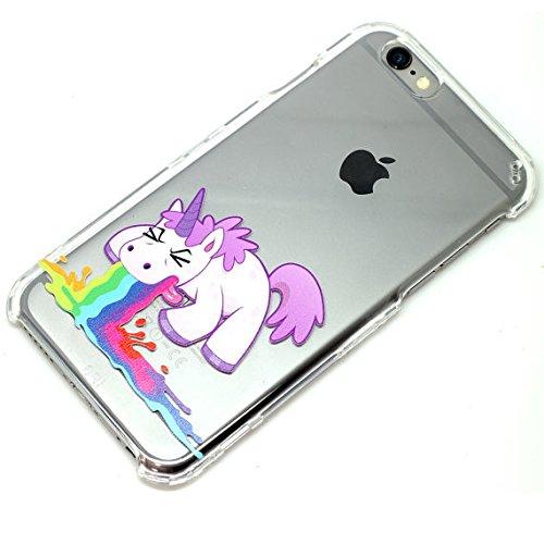amazon com unicorn throw up rainbows design clear phone case