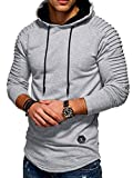 KENANCY Mens Pullover Hoodie Solid Pleat Hem Curved Long Fleece Sweatshirt