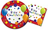 Feliz Cumpleanos Spanish Happy Birthday Party Supplies / Plates and Napkins Bundle - 2 Items: 9 Inch Paper Plates and 6.5 Inch Paper Napkins for 16 Guests