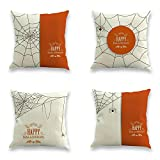 TOOL GADGET 4-Pack Happy Halloween Decorative Throw Pillow Cover Cushion Cover Pillow Case 18x18, Spider Bat , Cotton Linen, Orange White