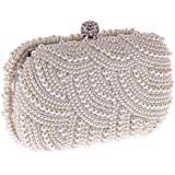 Women Clutches Fashion Pearl Clutch Evening Bags Clutch Purse Party Wedding Handbags,White