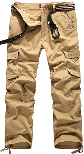 Fiream Men Casual Cotton Washable Loose Plus Size Multi-Pocket Cargo Pants(Khaki2,L/32)