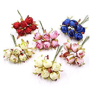 Memoirs- 6Pcs/Lot 1.5Cm Mini Rose Buds Artificial Flower Bouquet for Wedding Party Home Decoration DIY Handcraft Wreath Gift Accessories 27