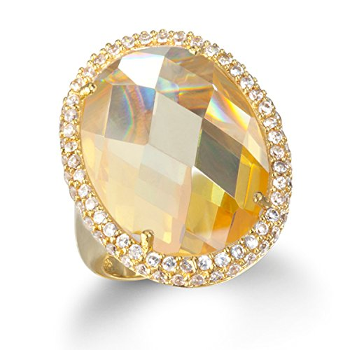 Gold Plated Silver Big Bold Canary CZ Oval (Bold Oval Ring)