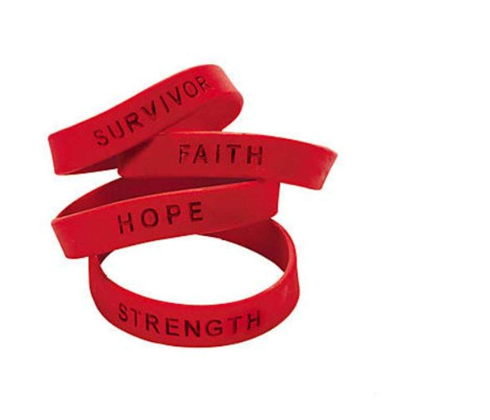 25 RED AWARNESS SILICONE SUPPORT BRACELETS HEART DISEASE HIV AIDS SUBSTANCE ABUSE