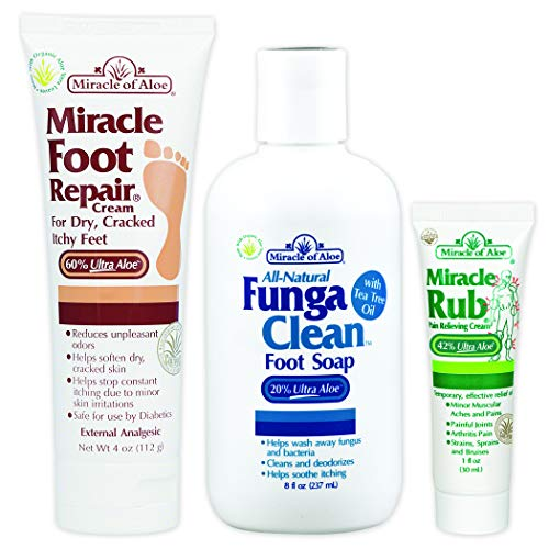 4 oz tube Miracle Foot Repair & 8 oz bottle FungaClean Foot Soap with Tea Tree Oil PLUS FREE 1 oz tube Miracle Rub Pain Relieving Cream - Keeps your feet healthy, clean, comfortable and odor-free