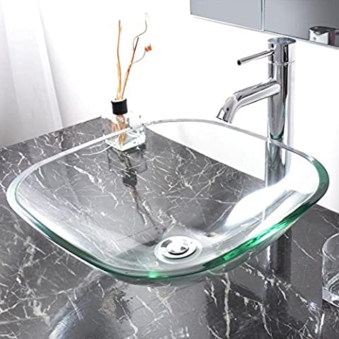 Modern Tempered Glass Bathroom Vessel Sink Natural Washroom Clear Vanity Basin (Tall Double Sink Vanity)