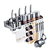 Multipurpose Stainless Steel Kitchen Utensils Organizer Holder 23.5inch Wall Mounted (Pan Pot Rack,spice Rack, Spoon Ladle Hanger,knife Block,towel Rack,silverware Caddy,Oil bottle Cruet Holder)
