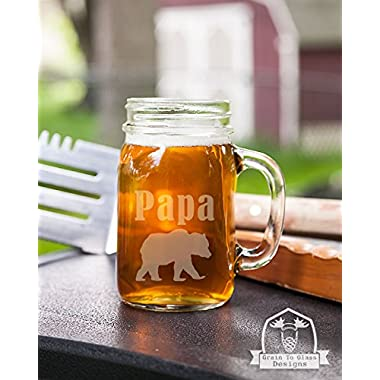 Papa Bear Mason Handled Jar Beer Mug Gift