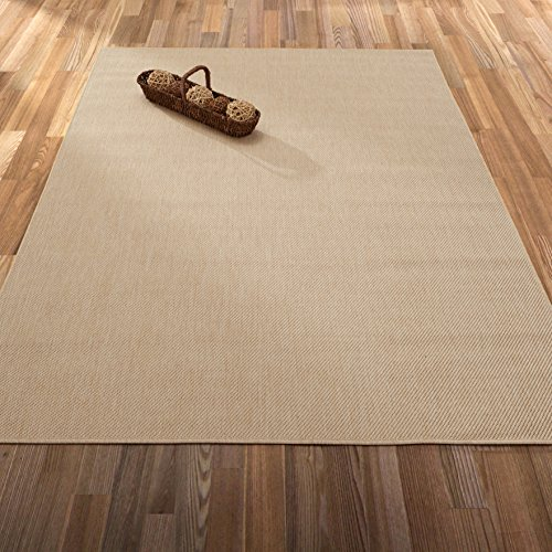 "Ottomanson Jardin Collection Natural Solid Design Indoor/Outdoor Jute Backing Area Synthetic Sisal Rug, Cream, 5'3"" x 7'3"""