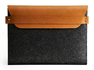 Mujjo Originals Collection Apple iPad Mini Sleeve in Brown (100% Wool Felt, Vegetable Tanned Leather, Extra Pocket, Handmade)