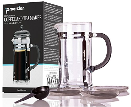 French Press Coffee Maker - 20 oz (600 ml) Espresso and Tea Maker with Triple Filters, Stainless Steel Plunger and Heat Resistant Borosilicate Glass with 6 Bonus Filters - by Procizion ()