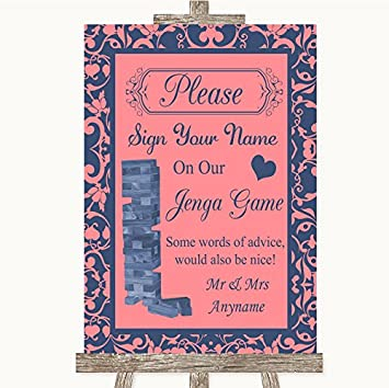 Poster Blue Jenga Guest Book Personalised Wedding Sign