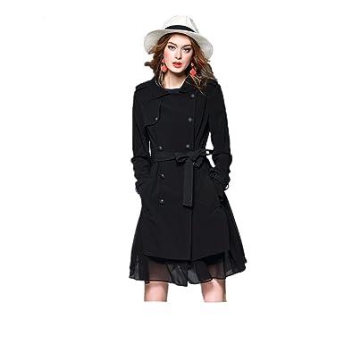4899360d1dbee5 Meloo Trenchcoat Damen Elegant Mantel Jacke Schlank Wintermantel Winterjacke  Warm Parka Outwear Oberbekleidung mit Gürtel Schwarz