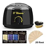 Waxing Kit for Hair Removal, O'vinna Wax Warmer Hair Removal with 4 Flavors Hard Wax Beans, 20 Wax Applicator Sticks and Aluminum Bowl for Painless Wax of Body, Hand, Leg, Foot