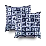 EMMTEEY Home Decor Throw Pillowcase for Sofa Cushion Cover,greek key navy blue and white Decorative Square Accent Zippered and Double Sided Printing Pillow Case Covers 18X18Inch,Set of 2