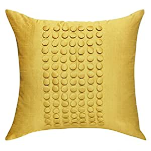 throw pillow yellow textured throw pillow cover mustard yellow button panel. Black Bedroom Furniture Sets. Home Design Ideas