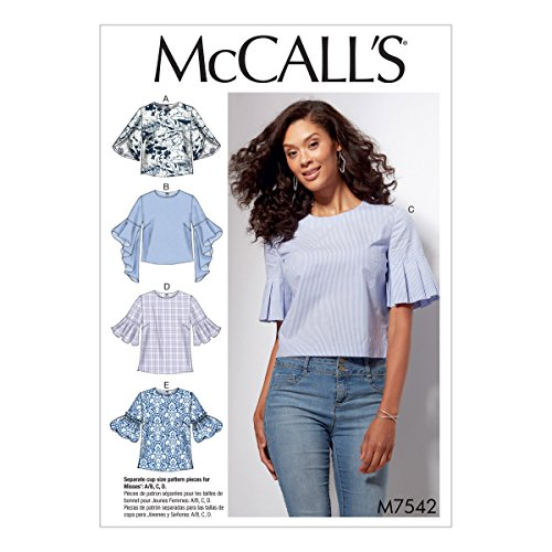 (McCall's Patterns M7542E50 Misses Trumpet, Tulip, Pleated or Bubble Sleeves Tops)