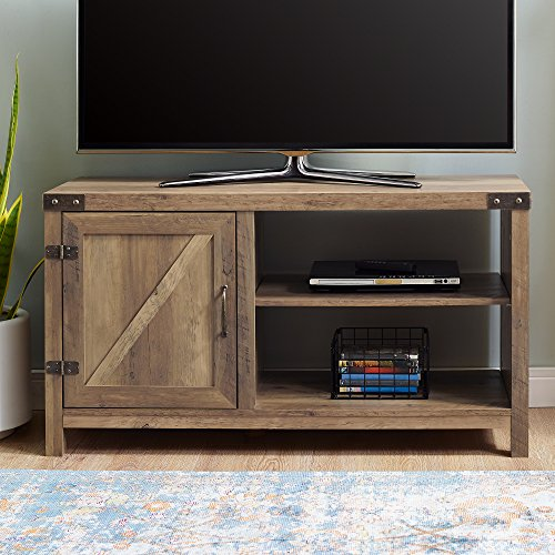 WE Furniture AZ44BD1DRO Barn Door TV Stand, Rustic (Rustic Oak Doors)