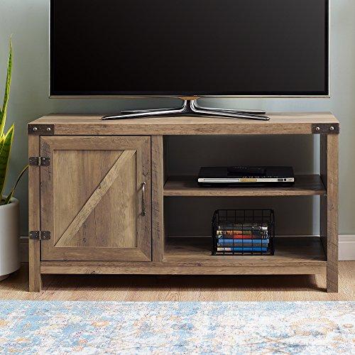 WE Furniture AZ44BD1DRO Barn Door TV Stand, Rustic Oak