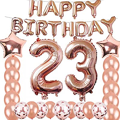 23rd Birthday Decorations Party Supplies Jumbo Rose Gold Foil Balloons For SuppliesAnniversary Events And Graduation