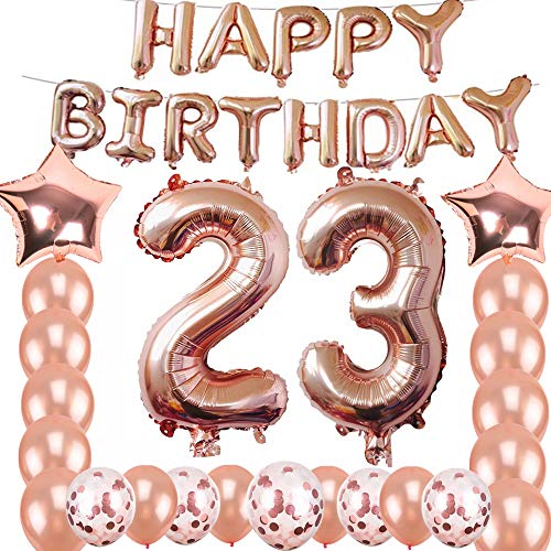 23rd Birthday Decorations Party Supplies, Jumbo Rose Gold Foil Balloons for Birthday Party Supplies,Anniversary Events Decorations and Graduation Decorations Sweet 23 Party,23rd Anniversary]()