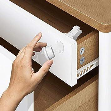 Cerraduras Magnéticas de Seguridad para Bebés y Niños - para Armario y Cajones - Fácil de Instalar, Sin Tornillos o Perforación - Tiras Adhesivas 3M - (12 cerraduras 3 llaves)