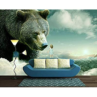 Large Wall Mural - Fantasy Series - Little Girl Reaching Out for a Bear | Self-Adhesive Vinyl Wallpaper/Removable Modern Wall Decor - 100x144 inches