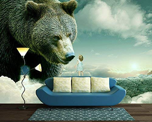 Large Wall Mural Fantasy Series Little Girl Reaching Out for a Bear Vinyl Wallpaper Removable Wall Decor