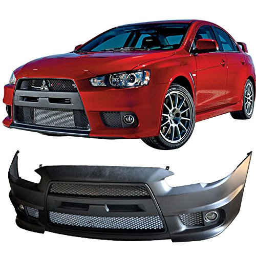 Fits 2008-2015 Mitsubishi Lancer EVO Front Bumper Cover Conversion + Black Grill Grille + Fog Cover PP By IKONMOTORSPORTS   2009 2010 2011 2012 2013 - Lancer Bumper Gts 2011