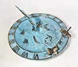 Brass Hummingbird Birdbath & Birdfeeder & Sundial (Multi-function) - With 1 Little Butterfly & 1 Little Dragonfly