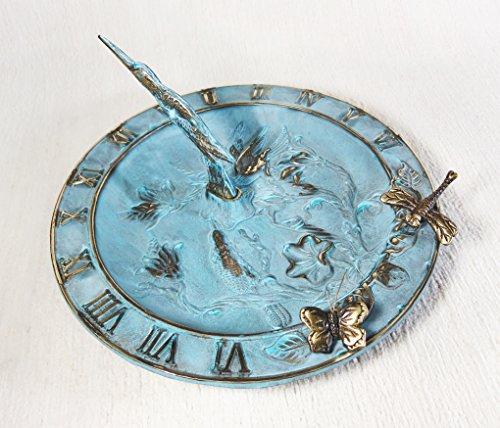 (Brass Hummingbird Birdbath & Birdfeeder & Sundial (Multi-function) - With 1 Little Butterfly & 1 Little Dragonfly)