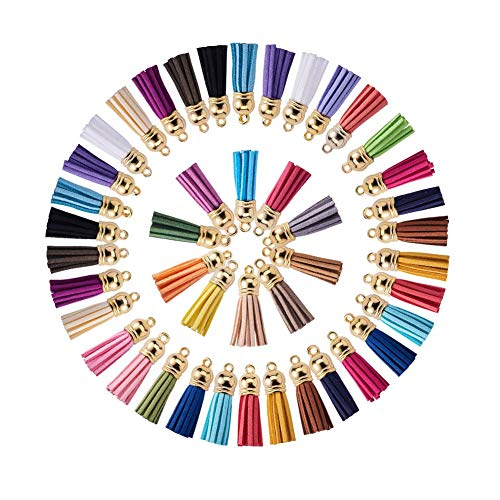 PandaHall Elite 120 Pcs 38mm Faux Suede Leather Tassel Pendants with Golden End Caps for Key Chain Cellphone Straps DIY Accessories 30 Colors