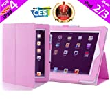 iPearl Leather Carrying Folia Cover Case for iPad 4 (Retina display & Lightning connector), iPad 3 & iPad 2 with 30-pin connector, with Built-in Stand, hand strap, sleep/wakeup function and FREE Touch Screen Stylus Pen - PINK
