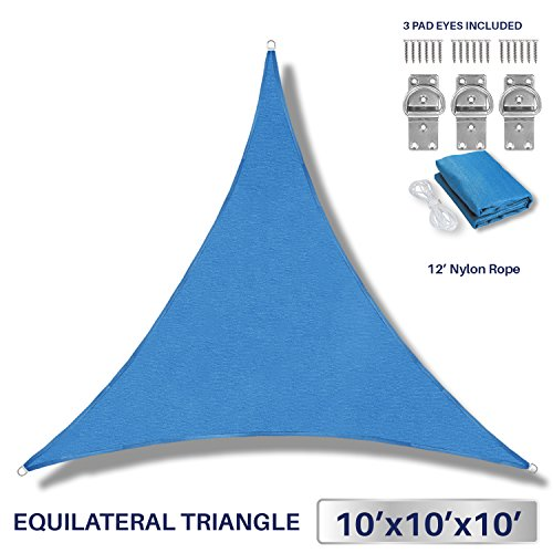 10' x 10' x 10' Sun Shade Sail UV Block Fabric Canopy in Blue Triangle for Patio Garden Patio Customized Sizes Available (3 Year Warranty) (In Patio)