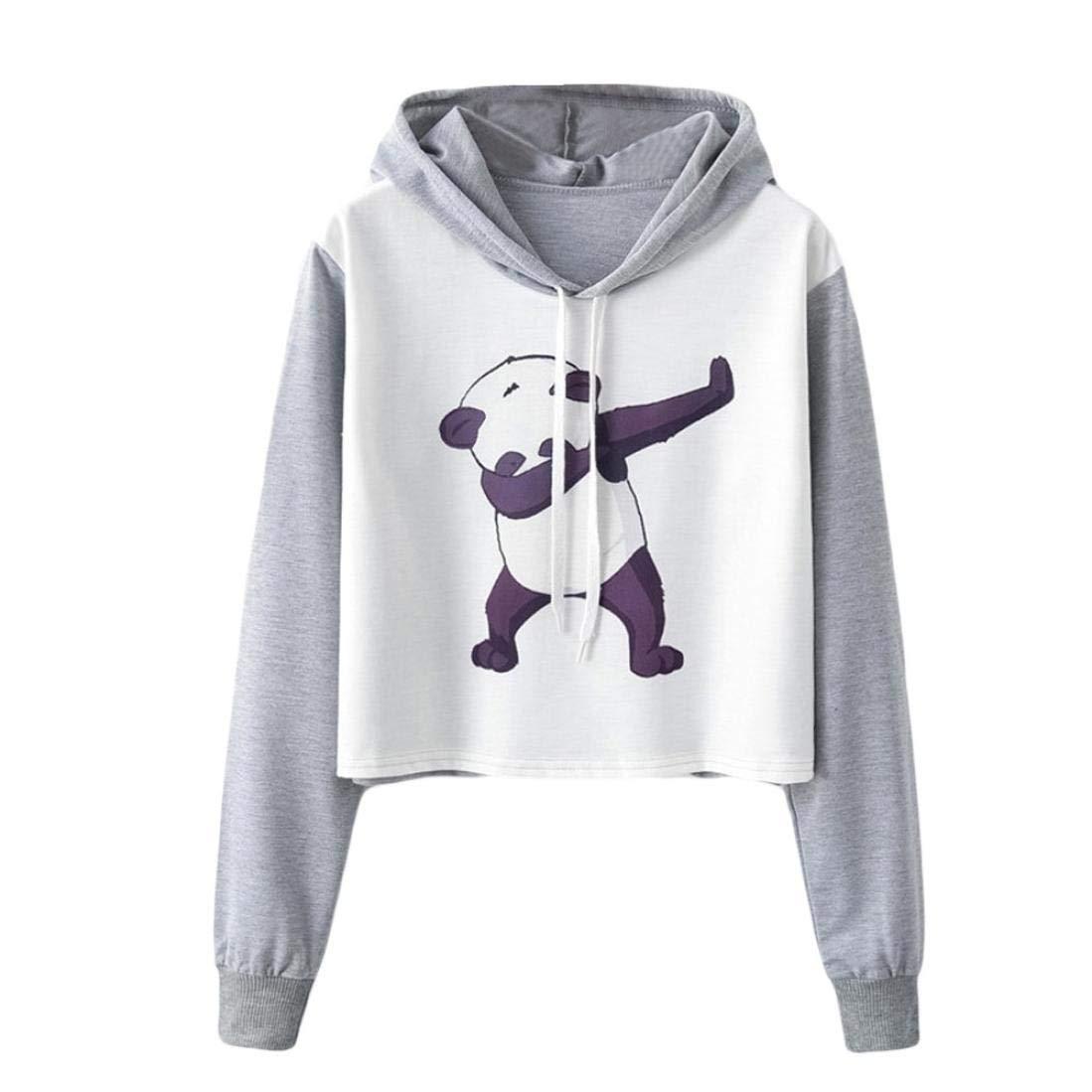 Happy-Day Women Autumn Hoodies T-Shirts & Tops Long Sleeve Panda Printed Loose Fit Hooded Sweatshirt