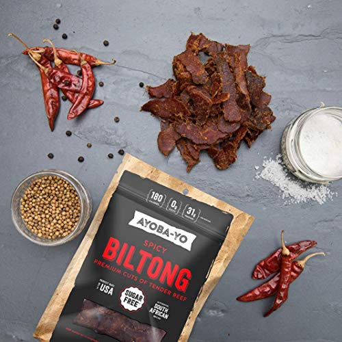 Ayoba-Yo Spicy Biltong. Tender Beef Snack. Better than Jerky. Paleo and Keto Friendly. High Protein Steak Cuts. Made with Premium Meat. No Carbs. Gluten & Sugar Free. 4 Ounce