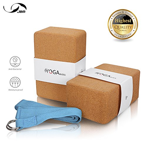 JBM Yoga Blocks 2 pack Plus Strap Cork Yoga Block Yoga Brick, Natural & Eco-friendly Cork Yoga Block to Support and Deepen Poses, Lightweight, Odor-Resistant and Moisture-Proof (Cork & Blue)