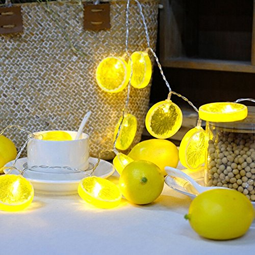 ARESTORE Lemon Slice Shape String Light,3Meters 20 Bulbs Warm Decorative Indoor String Lights Clear Cable Battery Powered for Valentine's,Wedding,Bedroom