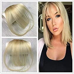 HIKYUU Human Hair Bangs Blonde with Temples Clip in Hair Extensions Flat Bangs Blonde Bangs Clip Human Hair