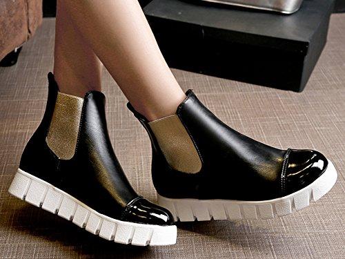IDIFU Martin Elastic Ankle On Slip Women's Low Heels Platform Boots Black Casual Booties Wedge rzpxra8wPq