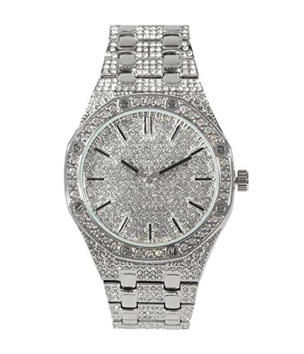 Mens Bling-ed Out 45mm Octagonal Shape CZ Watch with Simulated Diamonds - Silver Plated (With Diamonds Ap Watch)