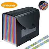 Expanding Files Folder Organizer, 24 Pockets A4 Document Paper Accordion Portable Folder Expandable File Box, Expander Storage Wallets Filing Folders with Colorful Label Tab for Office/Business Document/School Paper Organizer with Lid (24 Pockets Folder)