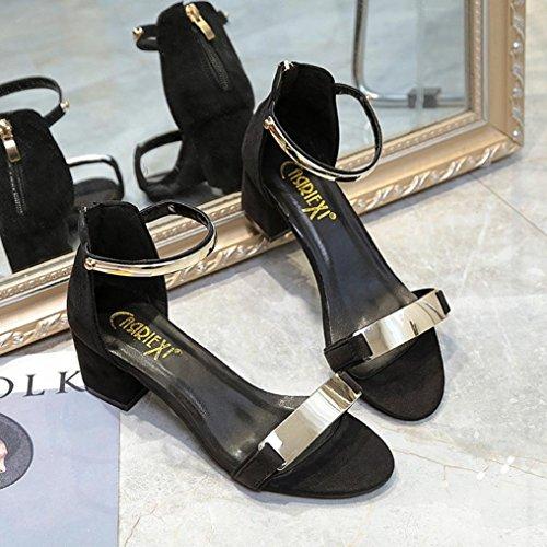 Fheaven Girl Womens Dress Sandal Chunk Low Heel Pump Sandals Open Toe Shoes Black SIYCSO