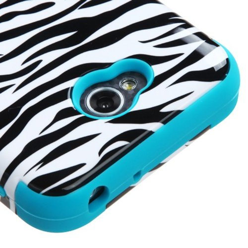 [ARENA] BLACK WHITE ZEBRA TEAL HYBRID RIBCAGE COVER SNAP ON HARD CASE for LG L70 OPTIMUS EXCEED 2 + FREE SCREEN PROTECTOR